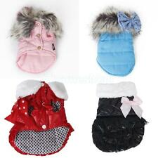 2 Styles U Pick Pet Dog Fur Collar Bowknot Coat Vest Clothing Apparel Size S/M/L