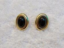 PIERCED EARRINGS STUD OVAL BLACK COSTUME STONE FORMAL DRESS UP SPHERICAL G VL-B4