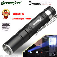 Mini Zoomable CREE XM-L Q5 LED Flashlight 3 Mode Torch Super Bright Light Lamp