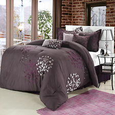 Cheila Plum  Comforter Bed In A Bag Set 8 Piece