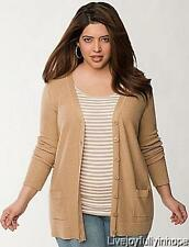 LANE BRYANT ~ New! NWT Plus 26 28 ~ LATTE Textured BOYFRIEND Cardigan Sweater 4X