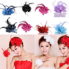 Women Headdress Flower Feather Belly Dance Hair Clips Bobby Pin Wedding Decor