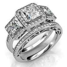 1.7 Princess AAA CZ 925 Sterling Silver Engagement Wedding Band Ring Set Sz 5-10