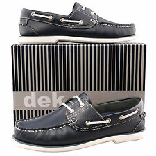 Mens Boys New Navy And White Leather Lace Up Casual Boat Shoes UK 4 - 12