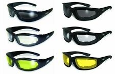 3 Foam Padded Motorcycle Riding Glasses Sunglasses-Clear, Smoked, & Yellow Lens