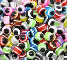 Lots Wholesale Mixed Multicolor Evil Eye Stripe Resin Beads 6mm
