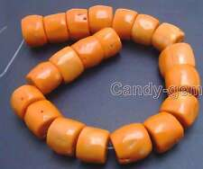 "SALE Big 30-35mm Orange Natural High Quality Column Knurl Coral strand 15""-lo533"