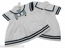 BNWT Baby girls white & navy striped summer sailor dress clothes 6 sizes