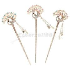Fashion Girls Faux Pearl Rhinestone Peacock Tassel Hair Stick Pin Clip Accessory