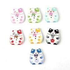 10 Cute Cat Kitty Wooden Buttons Craft Scrapbooking Card Shower Embellishments