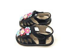 Black Fisherman Flower Sandals Squeaky shoes for Girls SQ-204 Size 4 5 6 8 9