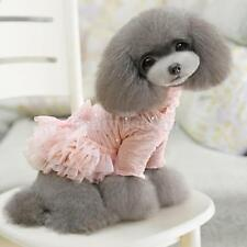 Pet Dog Pink Turtleneck Dress Tulle Bowknot Tiered Skirt Clothes Apparel S-XL