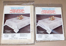"Progress ""Olympia"" Floral Stamped Cross Stitch Oblong Tablecloth & Napkins NIP"