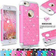Luxury Hybrid Rhinestone Bling Crystal Defender Hard Case Cover for Apple iphone