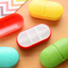 Portable 6 Lattice Medicine Pill Box Drug Storage Device Capsule Type Container