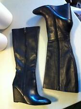 ZiNgEr Steve Madden Sleek Black Knee High Wedge Leather Boots Outside Zipper 10