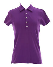 Joan Vass Women's Medium Purple Interlock Lana Polo Top C110016 $48 NEW