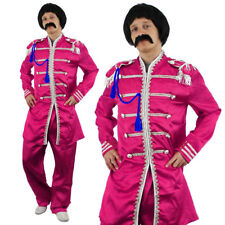PINK SERGEANT PEPPER MENS FANCY DRESS COSTUME 1960S ENGLISH BOY ROCK BAND OUTFIT