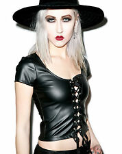LIP SERVICE SEXY CYBER GOTH PUNK ROCK GOTHIC PVC VINYL LACE UP FRONT TOP SHIRT