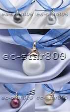 "D0226 17"" 16mm South Sea Shell Pearl blue silk Necklace Pendant"