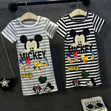 Kids Girl Baby Striped Mickey Printed Short Sleeve Summer Dress Long Top T-shirt