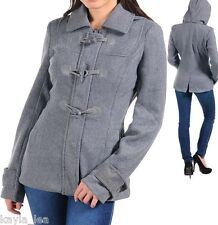 Gray Zip/Toggle Front Fleece Jacket/Peacoat/Coat w/Removable Hood