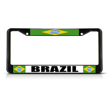 BRAZIL BRAZILIAN FLAG COUNTRY Metal License Plate Frame Tag Border Two Holes