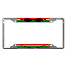 COOL FACE RAINBOW Metal License Plate Frame Tag Holder Four Holes