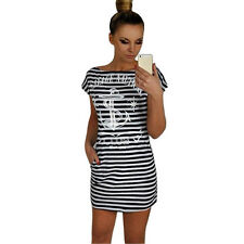 Vogue Style Women Summer Anchor Letter Print Strip Short Sleeve Boat Neck Dress
