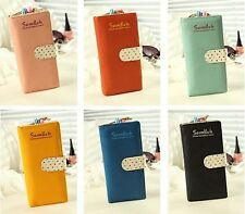 Ladies Cute Polka Dot Paragraph Multi-card Bit Long Retro Zipper Wallet FF