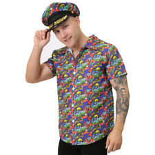 BLUE HAWAIIAN SHIRT AND HAT UNISEX LUAU BEACH PARTY STAG DO HOLIDAY FLORAL PRINT