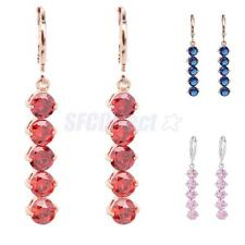 Luxury Women Crystal Rhinestone Long Dangle Drop Leverback Hook Earrings Jewelry
