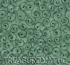 "10~Jelly Roll or Honey Bun 2.5""or 1.5"" Hunter Green Swirl Fabric Strips Quilting"