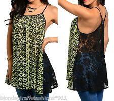 Green Black Floral Front Lace Back Sleeveless Racerback Cami Tami Blouse Top