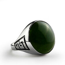 Men Ring Natural Green Agate Turquoise Onyx Lapis 18k Solid White Gold All sizes