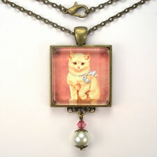 """WHITE CAT KITTEN BLUE BOW """"VINTAGE CHARM"""" BRONZE OR SILVER PENDANT NECKLACE"""