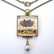 """BIRD NEST W/ EGGS """"VINTAGE CHARM"""" BRONZE OR SILVER PENDANT NECKLACE CHARMEDWARE"""