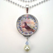 "BIRD w/ FORGET ME NOTS FLOWER ""VINTAGE CHARM"" SILVER OR BRONZE PENDANT NECKLACE"