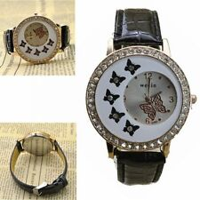 Butterfly Crystal Fuax Leather Womens Quartz Dial Wrist Watch Fashion Lady