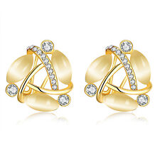 Stylish 18k Gold Plated Opal Rhinestone Stud Earrings Women Exquisite Jewelry