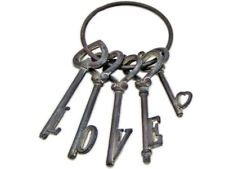 Inspirational Old Style Shabby Rustic Metal Cast Iron Set Of LOVE Keys On Ring