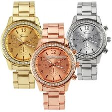 Hot Fashion Women Girl Unisex Crystal Luxury Stainless Steel Quartz Wrist Watch