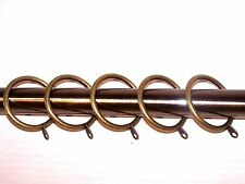 Quality 25mm - 28mm Metal Curtain Pole Rings with Fixed Hoop Antique Brass Gold