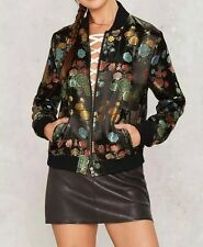 New Womens Ladies Fashion Floral Jacquard Zip Up Bomber Flight Jacket Coat