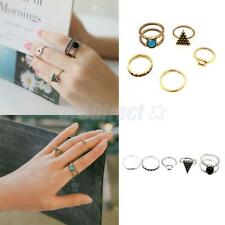 5pcs Silver Gold Women Stack Plain Above Knuckle Ring Midi Finger Tip Rings Set