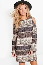 Boohoo Womens Lucia Paisley Cold Shoulder Flared Sleeve Dress