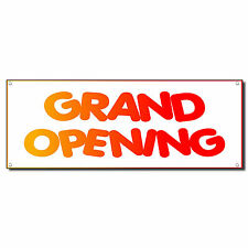 Grand Opening White Red 13 Oz Vinyl Banner Sign w/ Grommets