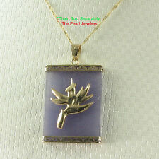 14k Yellow Gold Hawaiian Bird of Paradise Rectangle Lavender Jade Pendant TPJ