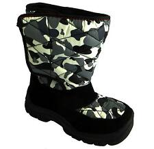 Ex-chainstore Boy's Velcro Faux Fur Lined Water Repellant Snow Winter Boots New