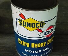 NEAR MINT 1970s Vintage SUNOCO DX HEAVY EXTRA DUTY MOTOR OIL Old 1 qt. Oil Can